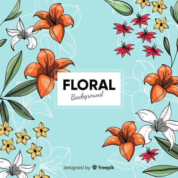 Fundo floral desenhado a mão Vetor grátis