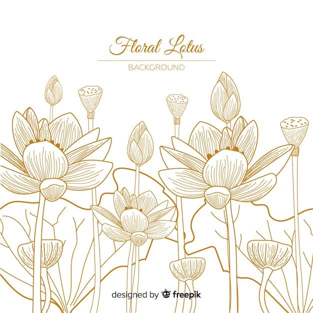 Fundo floral desenhado a mão Vetor Premium