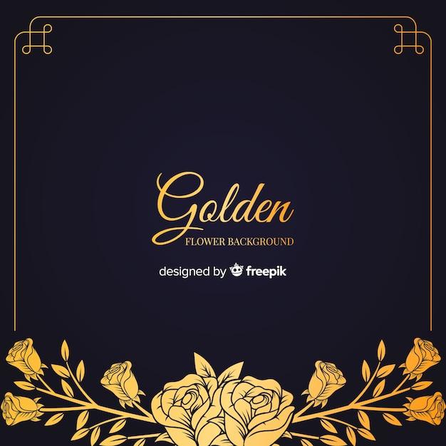 Fundo floral dourado de mão desenhada Vetor grátis