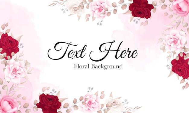 Fundo floral elegante com lindos enfeites de flores Vetor grátis