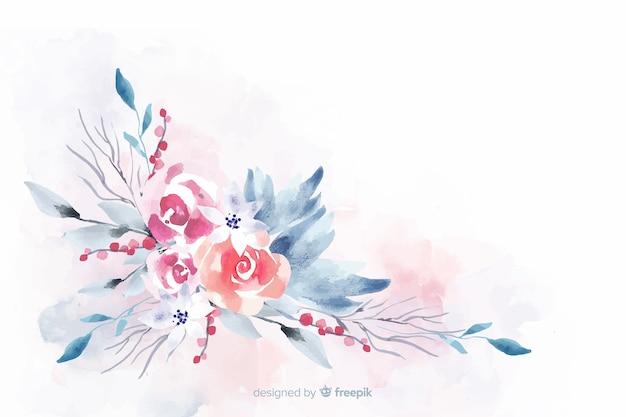 Fundo floral em aquarela de cor suave Vetor grátis