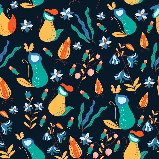 Fundo floral exótico colorido Vetor grátis