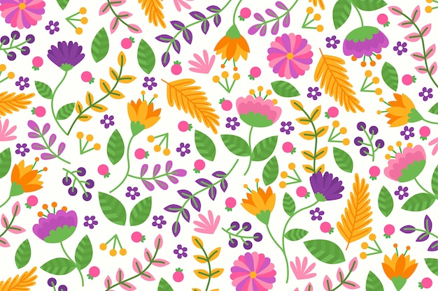 Fundo floral exótico em cores vivas Vetor grátis