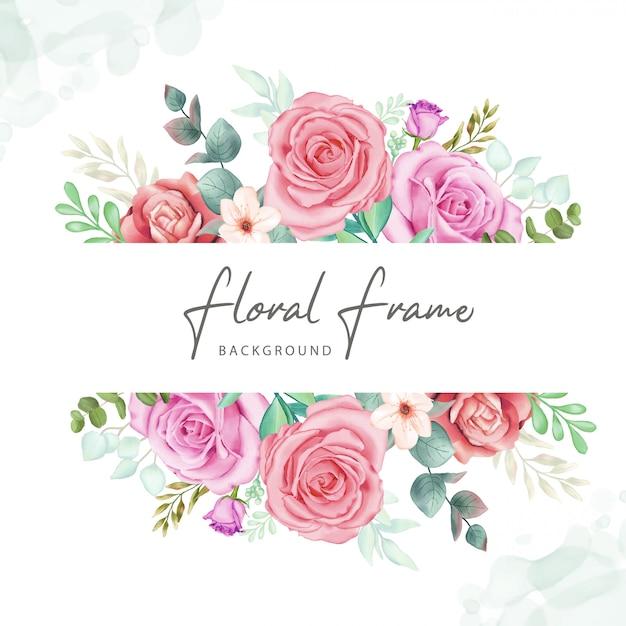 Fundo floral frame com aquarela colorida Vetor Premium