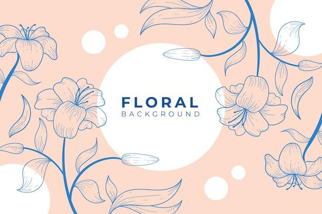 Fundo floral lindo e elegante com estilo de contorno Vetor Premium