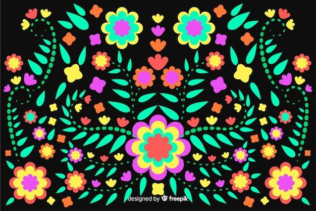Fundo floral mexicano do bordado Vetor grátis