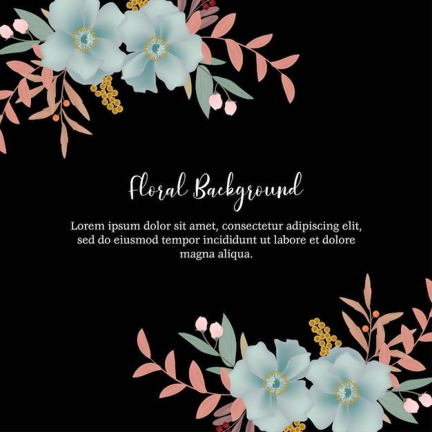 Fundo floral multi propósito com decoração de flor azul Vetor Premium