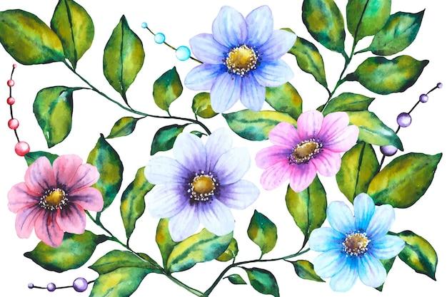 Fundo floral pintado à mão realista Vetor grátis