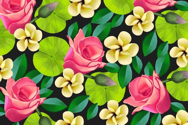 Fundo floral pintado colorido Vetor grátis