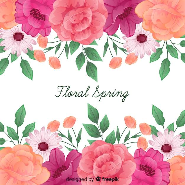 Fundo floral primavera com moldura de rosas Vetor grátis