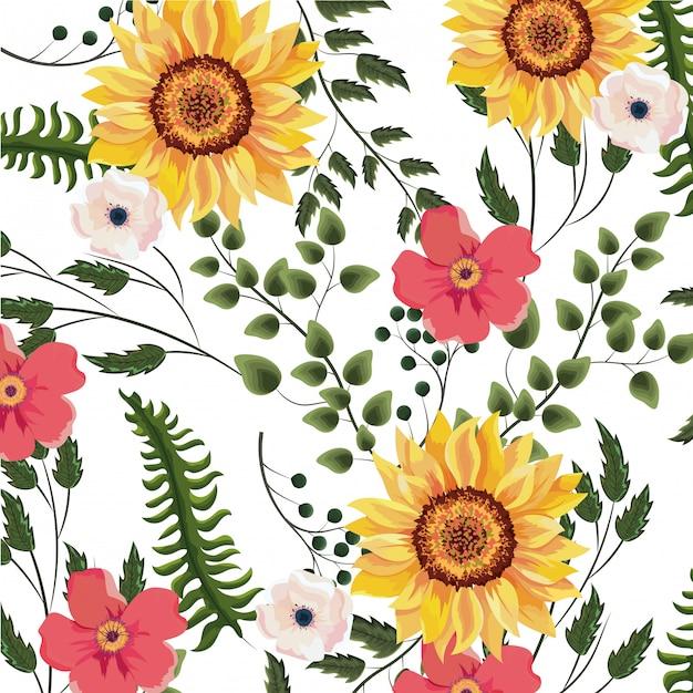 Fundo floral primavera Vetor Premium