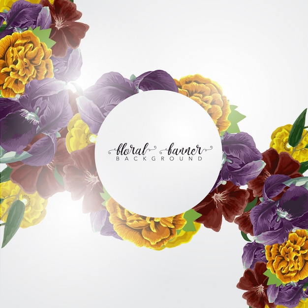 Fundo floral realista Vetor Premium