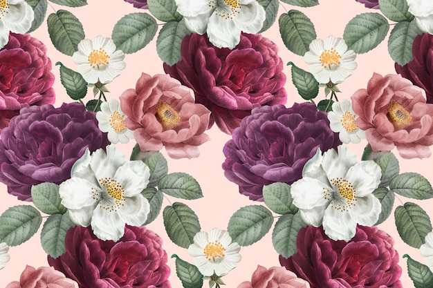 Fundo floral romântico Vetor grátis