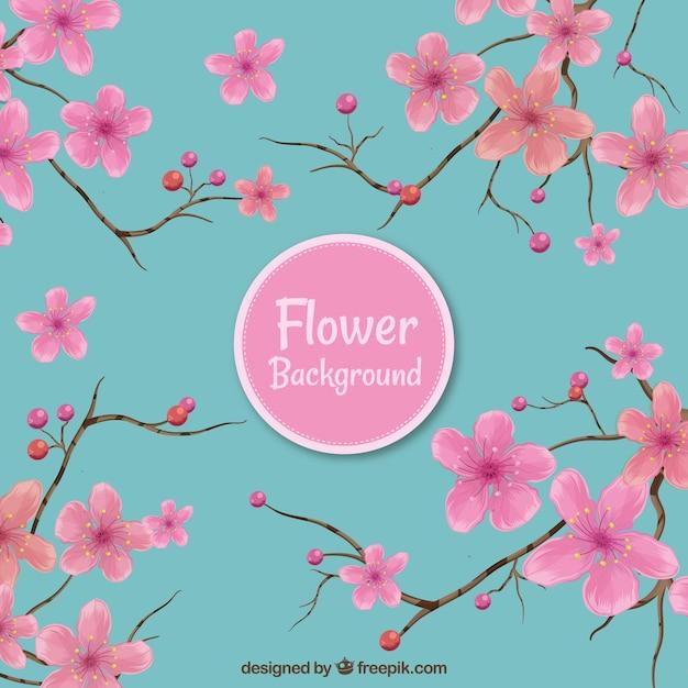 Fundo Floral Rosa E Azul Baixar Vetores Gratis