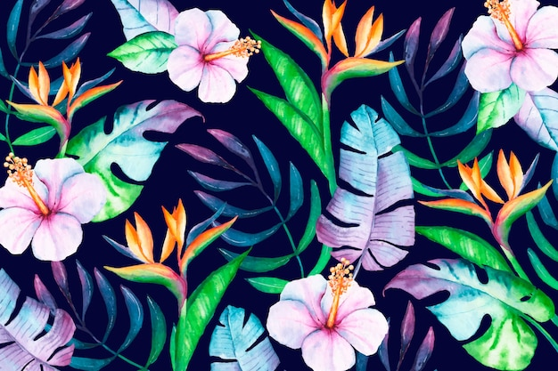 Fundo floral tropical colorido Vetor Premium