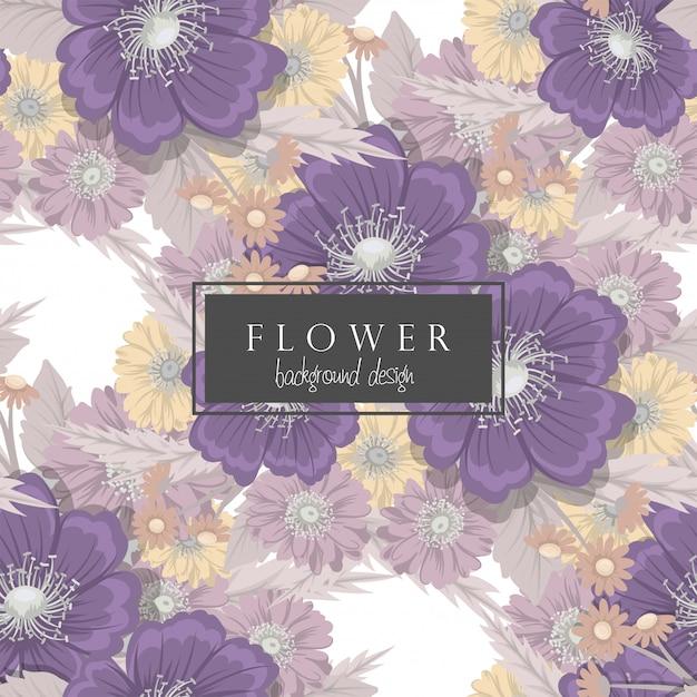 Fundo floral vetor roxo flores sem costura padrão Vetor Premium