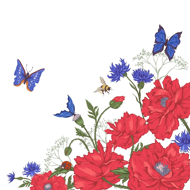 Fundo floral vintage com rosas e flores silvestres Vetor Premium