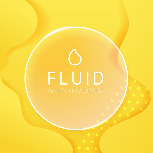 Fundo fluido abstrato com frame de vidro e texto da amostra. modelo de vetor para web, impressão, Vetor Premium