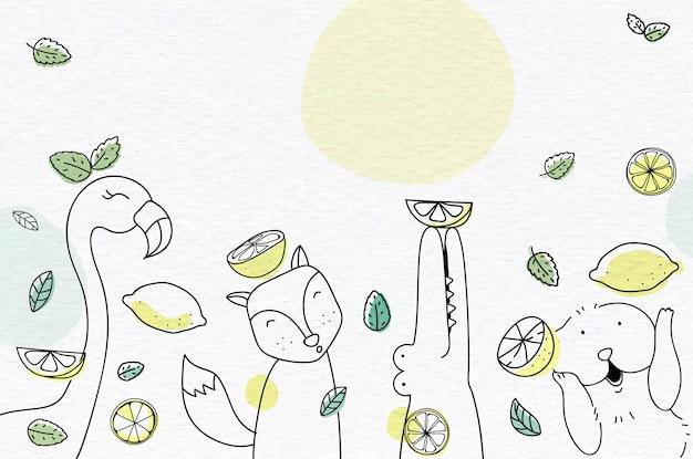 Fundo frutado bonito Vetor grátis
