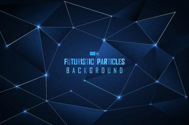 Fundo futurista abstrato das partículas do ponto azul. Vetor Premium