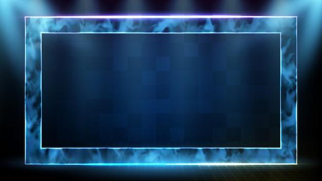 Fundo futurista abstrato de moldura quadrada de tecnologia neon com modelo de quadro de holograma de fumaça e dados sci fi hud Vetor Premium