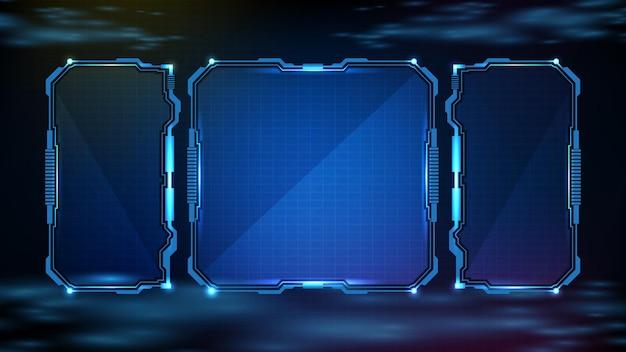 Fundo futurista abstrato de tecnologia sci fi frame hud ui brilhante azul Vetor Premium