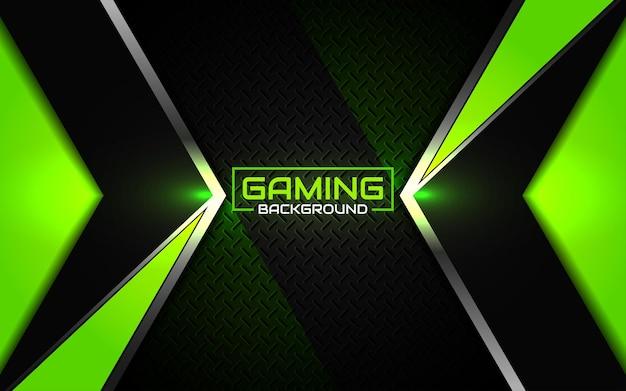 Fundo futurista abstrato do jogo em preto e verde Vetor Premium