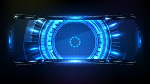 Fundo futurista abstrato. quadro de ficção científica com tecnologia azul brilhante hud ui Vetor Premium