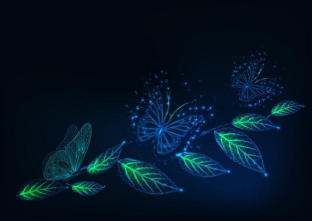 Fundo futurista com brilhantes borboletas baixas poligonais e folhas verdes em azul escuro. Vetor Premium