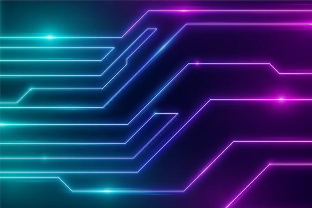 Fundo futurista de circuitos de luzes de néon Vetor grátis