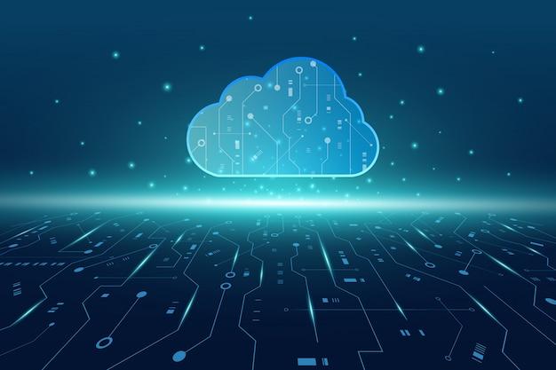 Fundo futurista de tecnologia moderna nuvem com placa de circuito Vetor Premium