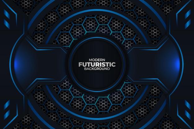 Fundo futurista escuro e azul Vetor Premium