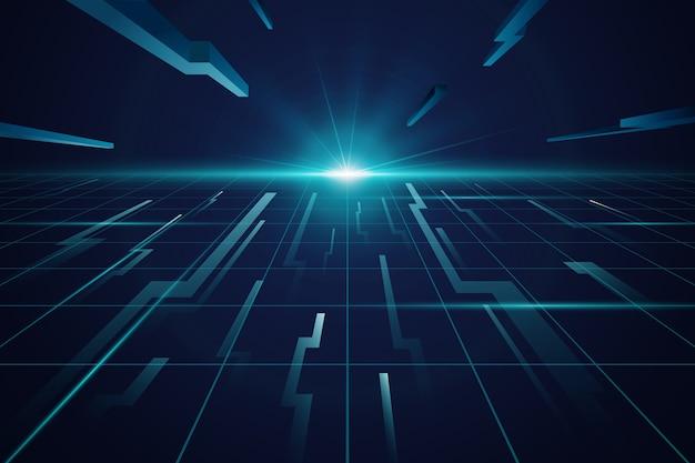 Fundo futurista horizonte azul Vetor grátis