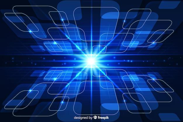 Fundo futurista horizonte com luz brilhante Vetor grátis
