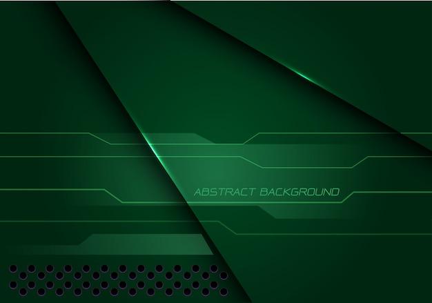 Fundo futurista moderno da tecnologia do cyber metálico verde abstrato da sobreposição. Vetor Premium