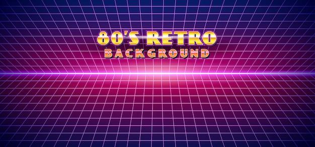 Fundo futurista retro da paisagem do estilo dos anos 80 Vetor Premium