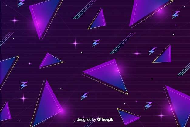 Fundo futurista retro geométrico tridimensional Vetor grátis