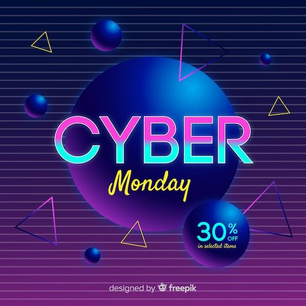 Fundo futurista retrô segunda-feira cyber Vetor grátis