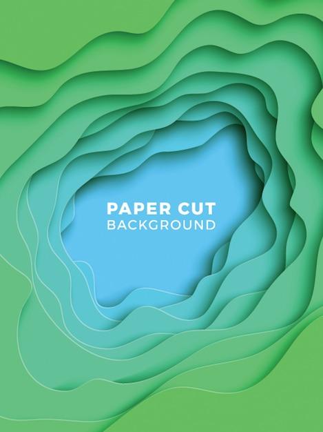 Fundo geométrico 3d com camadas de corte de papel realista Vetor Premium