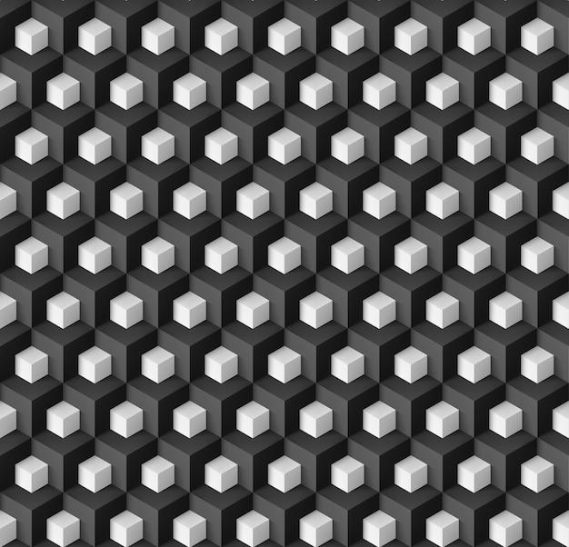 Fundo geométrico abstrato com cubos brancos em preto Vetor Premium