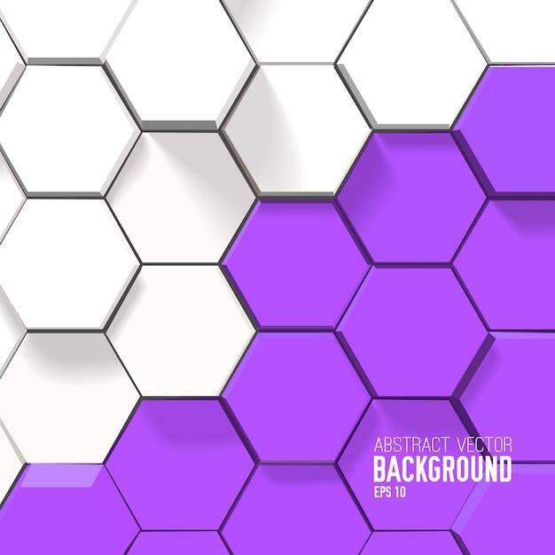 Fundo geométrico brilhante com hexágonos brancos e roxos Vetor grátis