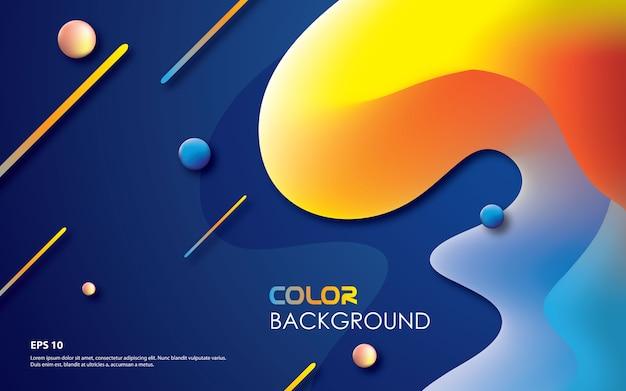 Fundo geométrico colorido com composição fluida na moda Vetor Premium