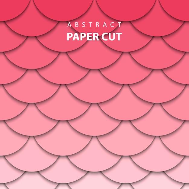 Fundo geométrico com corte de papel vermelho e rosa Vetor Premium
