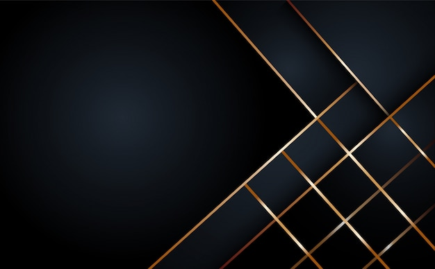 Fundo geométrico de camada abstrata preto Vetor Premium