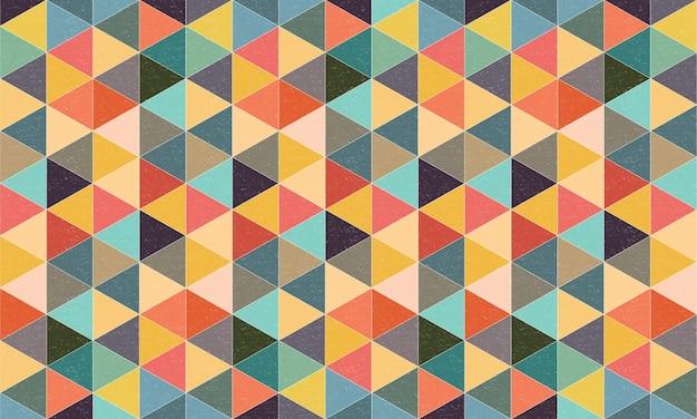 Fundo geométrico de triângulos texturizados com estilo retro colorido Vetor Premium
