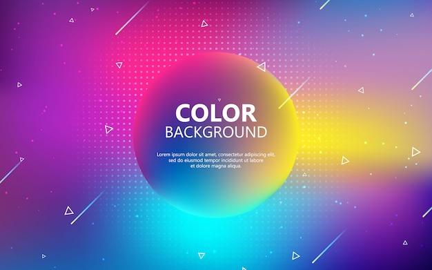 Fundo geométrico do círculo colorido. composição de forma de gradiente fluida na moda Vetor Premium