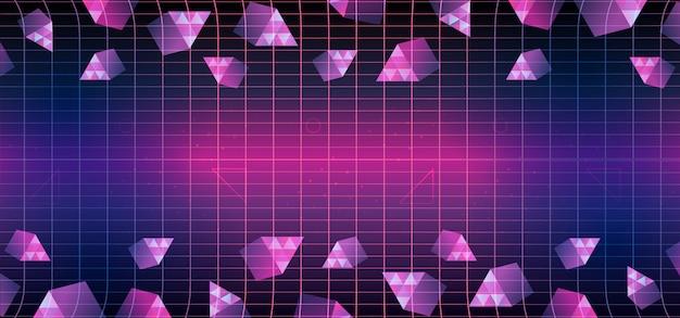 Fundo geométrico dos anos 80 triângulo de memphis Vetor Premium