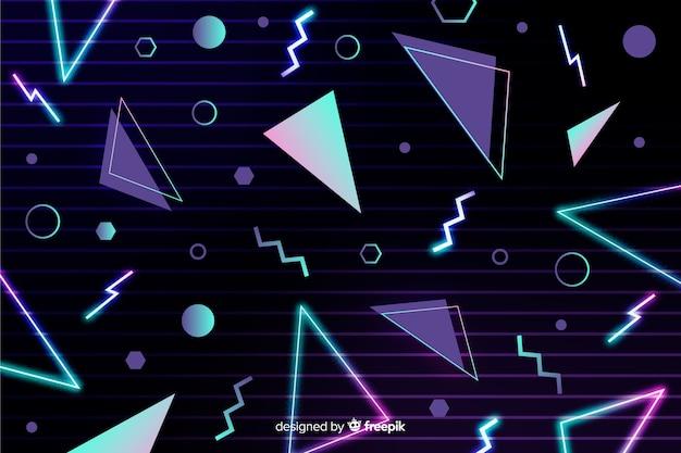 Fundo geométrico retrô com triângulos Vetor grátis