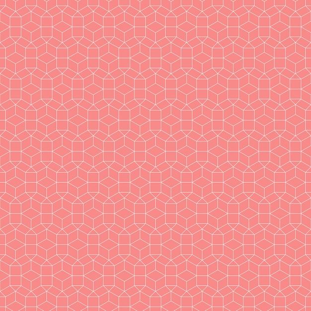 Fundo geométrico sem costura padrão na cor salmão Vetor Premium