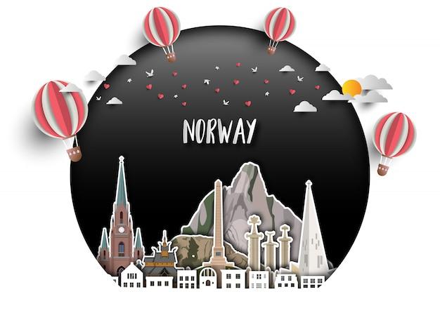 Fundo global do papel do curso e da viagem do marco de noruega. Vetor Premium